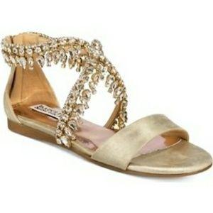 Badgley Mischka Tristen li Flat Jeweled Sandals